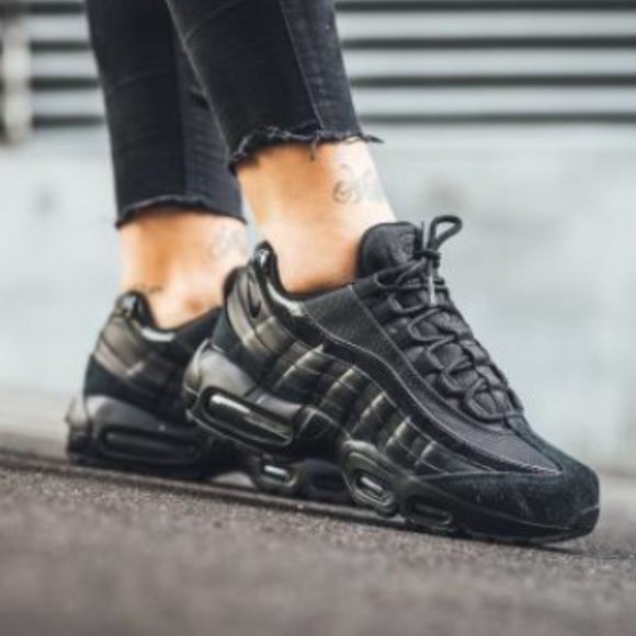 huge discount 18053 dc955 Nike AIR MAX 95 Women s triple pure black shoes
